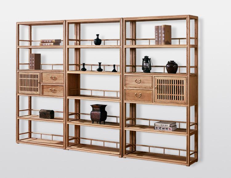 新中式免漆榆木打挖书柜